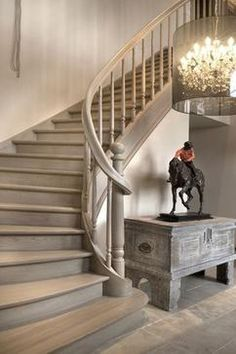 Staircase - I like the color and finish of these gray stairs. Rustic Stairs, Wood Stairs, Basement Stairs, House Stairs, Entryway Stairs, Cottage Staircase, Banisters, Stair Railing, Railings