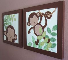 "Green and Brown Mod Pod Monkeys, Nursery Art on Canvas - Set of Two 20"" x 20"" Panels"