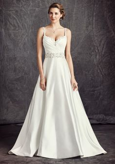 Satin ball gown with sweetheart neckline and natural waist style | Kenneth Winston: Ella Rosa Collection | https://www.theknot.com/fashion/be293-kenneth-winston-ella-rosa-collection-wedding-dress