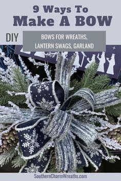 Bow Making Tutorials, Making Bows, Wreath Making, Diy Wreath, Making Ideas, Diy Ribbon, Ribbon Crafts, Christmas Bows, Xmas