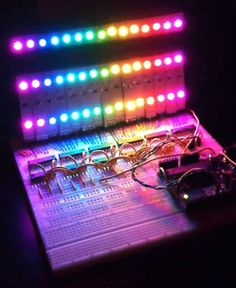 A simple RGB LED Rainbow fader using an Arduino Uno and a few simple components. Believe it or not, we will control of RGB LEDs at 32 brightness levels using only 3 digital pins from the Arduino! By usi. Led Projects, Engineering Projects, Electronic Engineering, Electrical Engineering, Engineering Humor, Electrical Projects, Electronic Art, Hobby Electronics Store, Diy Electronics