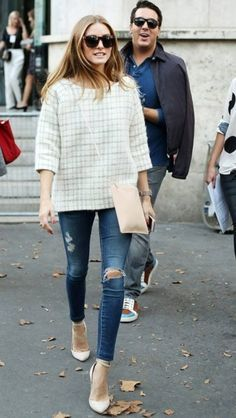 Olivia Palermo | light green cream oversized boxy sweater shirt + ripped skinny jeans + almond toe ankle strap heels