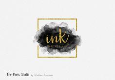 Gold Foil Geometric Frame Watercolor Logo Design for stylist and makeup artist, photography branding, restaurant logo, boutique branding, e-commerce website logo, blog logo, creative business branding or small business logo.
