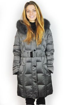 JESSIMARA 3/4 LENGTH GREY HOODED PUFFER COAT WITH FOX FUR TRIM