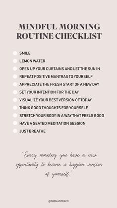 Morning Routine Checklist, Healthy Morning Routine, Morning Routines, Daily Routine Schedule, Schedule Calendar, Early Morning Workouts, Daily Routines, Beauty Routines, Positive Self Affirmations