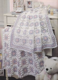 ♥  Granny Square Baby Afghan Crochet Patterns 6 Designs