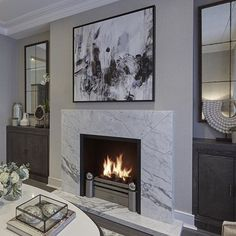 Latest Photo Contemporary Fireplace remodel Tips Modern fireplace designs can co… – farmhouse fireplace tile Home Fireplace, Fireplace Remodel, Fireplace Surrounds, Fireplace Ideas, Modern Fireplace Mantles, Marble Fireplace Surround, Simple Fireplace, Fireplace Stone, Modern Fireplaces