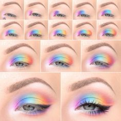 make-up instructions and many tips for applying make-up 8 Jahre Make-Up Anleitung und viele Tipps zum Schminken Style! Glitter eye makeup instructions # up # - Pastel Eyeshadow, Eyeshadow Makeup, Eyeliner, Yellow Eyeshadow, Rainbow Eye Makeup, Colorful Eye Makeup, Couleur L Oreal, Pastell Make-up, Maquillage On Fleek