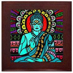 Buddha Spiritual Folk Art Ceramic Framed Tile by Heather Galler - Ready To Hang Tile Frame Gift