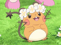 Dedenne knows how to wear a flower wreath XD LOL! Pokemon Gif, Pokemon Memes, Cute Pokemon, Pokemon Fusion, Grass Type Pokemon, Pokemon Universe, Popular Pokemon, Cute Cartoon Characters, Fanart