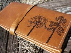it's a leather wallet, and the tree's are what makes it.