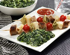 Try these easy, fun, and yummy Tortellini Kabobs with Birds Eye Steamfresh Chef's Favorites Creamed Spinach.