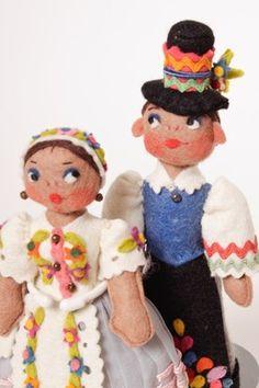 Vintage felt dolls