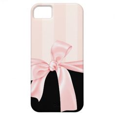Parisian Girly Pink Stripes  Light Pink Bow iPhone 5 Covers