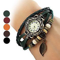 reloj de pulsera de cuarzo analógico vendimia banda de tejido del cuero del estilo de la hoja de las mujeres – USD $ 3.59