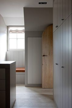 panelling with almost secret doors for snug , hall Wooden Wardrobe, Wardrobe Doors, Built In Wardrobe, Garage Apartment Plans, Belgian Style, Basement House, Built In Furniture, Stair Storage, Contemporary Interior