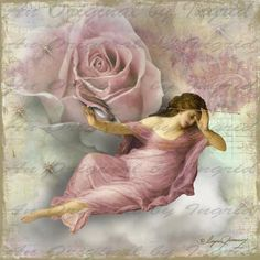 Rose in the Clouds Digital Collage Greeting by anoriginalbyingrid