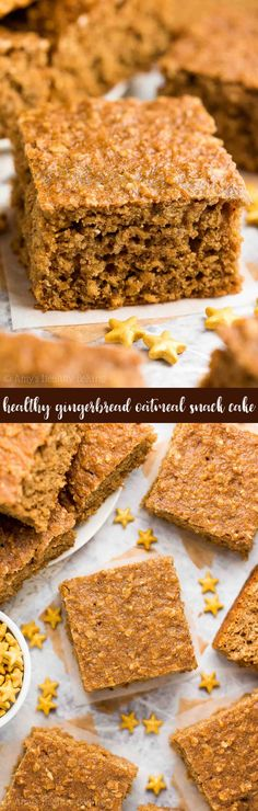 {HEALTHY} Gingerbread Oatmeal Snack Cake -- only 101 calories! Perfect for breakfast too! The BEST gingerbread cake I've had! And it's unbelievably easy to make -- no mixer required! No refined sugar, cup yogurt Healthy Sweets, Healthy Dessert Recipes, Gluten Free Desserts, Healthy Baking, Cupcake Recipes, Baking Recipes, Delicious Desserts, Cupcake Cakes, Healthy Snacks