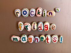 Love these adorable fridge magnets - just stones and paint! #diy #kids #fun #magnets #paint