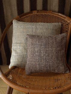 Handwoven Cushion Cover / Navy x Dark Brown by cocoon_oharu, via Flickr
