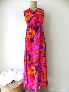 Liberty House Dress Size Small Hawaiian Barkcloth Maxi Vintage 60s MOD Neon Tiki #LibertyHouse