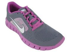 dd04ff77125 Nike Girls Free Run 3 Running Shoe Charcoal Viola Atomic Green White Nike.   56.56