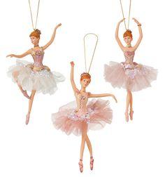 Kurt Adler Pink Sequin Ballerina Ornament - Set of 3