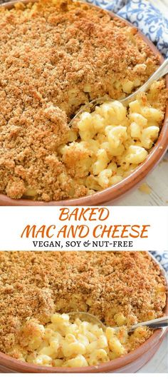 The ultimate Baked Vegan Mac and Cheese. Cheesy, saucy macaroni topped with an irresistible buttery & golden crispy crumb topping. No dairy, no nuts & easily made gluten-free. via (macaroni cheese vegan) Vegan Dinner Recipes, Dairy Free Recipes, Whole Food Recipes, Vegetarian Recipes, Cooking Recipes, Gluten Free, Simple Recipes, Milk Recipes, Vegan Recipes No Nuts