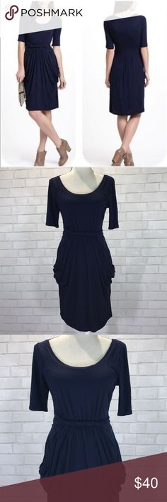 """Meadow & Rue Chignon Twist Front Jersey Dress This is a Meadow & Rue for Anthropologie navy chignon dress in a size medium. This dress has short sleeves with a twist detail and front pockets. Dress has a full lined interior and is in excellent used condition. Measurements: bust 16.5"""", waist 15"""" and length 38.5"""". Thanks! Anthropologie Dresses"""