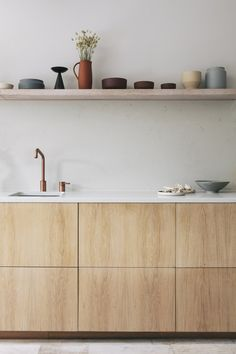 Embracing the beige interior trend with Ferm Living collection Plywood Kitchen, Ikea Kitchen, Kitchen Interior, Kitchen Dining, Kitchen Ideas, Plywood Cabinets, Kitchen Cabinets, Ikea Cabinets, Kitchen Shelves