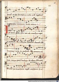 Cantionale, Geistliche Lieder mit Melodien. Münchner Marienklage Tegernsee, 3. Drittel 15. Jh. Cgm 716  Folio 77