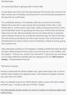 I am literally not emotionally prepared. I feel like it's so obvious though. | Steve Rogers Captain America Headcanon Marvel Avengers Infinity War Shield | #CaptainAmerica #SteveRogers