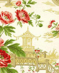 Tapet Pavillions & Parasols - Cream/Emerald/Ruby från Sanderson