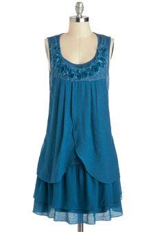 Drifting Tenderly Dress - Mid-length, Blue, Solid, Flower, Ruffles, Party, Sack, Sleeveless, Daytime Party, Boho, Scoop