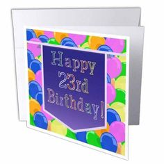 3dRose Balloons with Purple Banner Happy 23rd Birthday, Greeting Cards, 6 x 6 inches, set of 6
