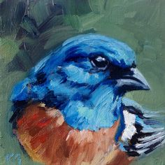"""Lazuli Blue"" by Kindrie Grove. Weekly Painting Project: Lazuli Bunting #art #painting #oilpainting #animals #wildlife #bird #bluebird #birds"