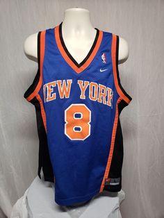 Vintage Nike NBA New York Knicks Latrell Sprewell  8 Adult Large Blue Jersey   Nike 4765772dd