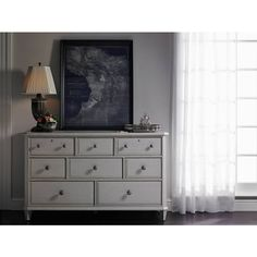 Hand-painted accent striping is one of the many stand-out features of the Laurel Dresser. Subtle glazed finishes combined with textural beaded drawer fronts and tarnished nickel knobs are tranquil and easy-going. | Stanley Furniture