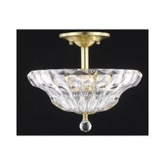 Ornate Gold Three-Light Semi-Flush Mount with Clear Royal Cut Crystals