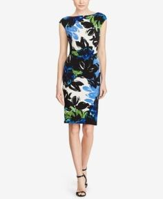 Lauren Ralph Lauren Floral-Print Jersey Dress - Blue/teal/multi 18