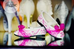 Pretty #pink #flower #girl shoes! Give her something she will always have as a #keepsake from your #wedding! Hand-painted by Figgie | www.figgieshoes.com