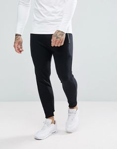 Asos Skinny Joggers With Raw Edge Mens Joggers Sweatpants, Skinny Joggers, Black Joggers, Asos Online Shopping, Online Shopping Clothes, Latest Fashion Clothes, Fashion Online, Tracksuit Bottoms, Sport Man