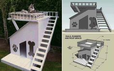 Get design ideas with pictures to build your own DIY Dog House. Free Dog House Plans included at end of article. 30 awesome dog house designs with pictures. Build A Dog House, Dog House Plans, Doggy House, Cabin Plans, Diy Pet, House Construction Plan, Cool Dog Houses, Pet Houses, Positive Dog Training