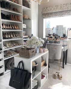 Closet office, luxury closet, vanity room, vanity in closet, luxury wardrob Closet Walk-in, Glam Closet, Closet Vanity, Dressing Room Closet, Dressing Room Design, Modern Closet, Vanity Room, Luxury Closet, Closet Ideas