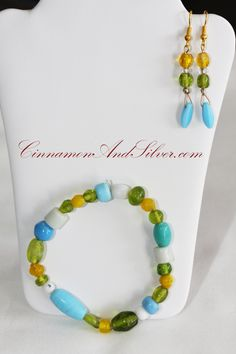 Caribbean Glass Beaded Jewelry Set, Turquoise Blue, Bright White, Yellow, and Clear Green Glass Beaded Bracelet and Earrings Set by CinnamonandSilver on Etsy