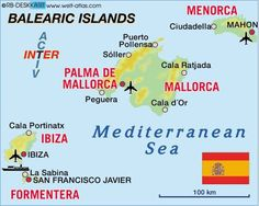 What areas would a map of the Balearic Islands include?