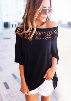 be06875b5eb63 Off Shoulder Lace Floral Short Sleeve Tops Casual Loose T Shirts,A nice  dress with