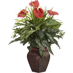 Nearly Natural Mixed Greens & Anthurium w/Decorative Vase Silk Plant ($62) ❤ liked on Polyvore featuring home, home decor, floral decor, flowers, plants, flower stem, flower home decor, nearly natural, nearly natural silk plants and green home accessories
