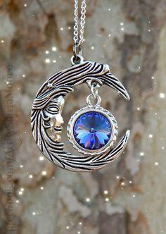 Crystal Moon Goddess Fantasy Pendant Lilac by ArtbyStarlaMoore, $35.00