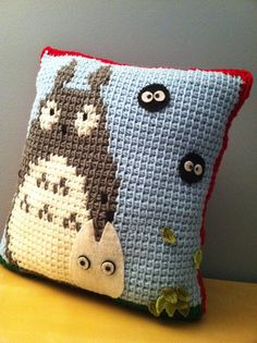 My Neighbor Totoro/Soot Sprites Pillow  Tunisian Crochet